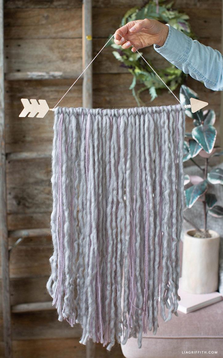 chipboard arrow yarn wall hanging