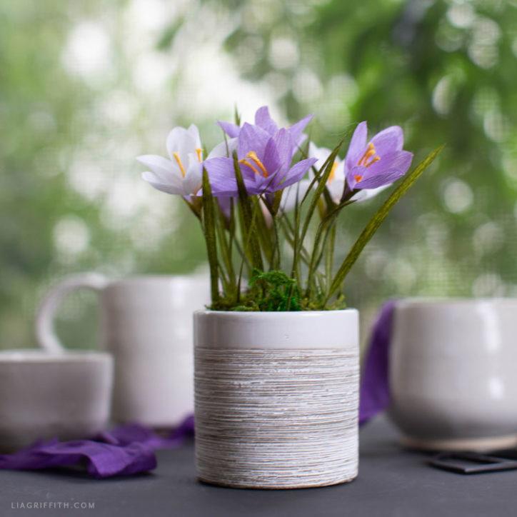 handmade crepe paper crocus flowers