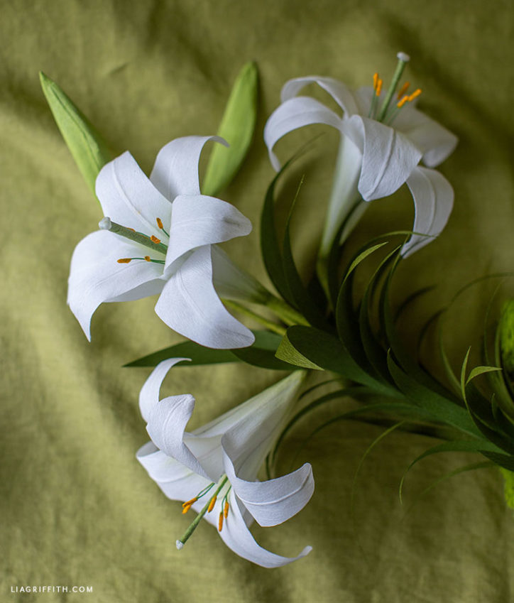 handmade crepe paper Easter lily