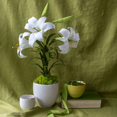 crepe paper Easter lily