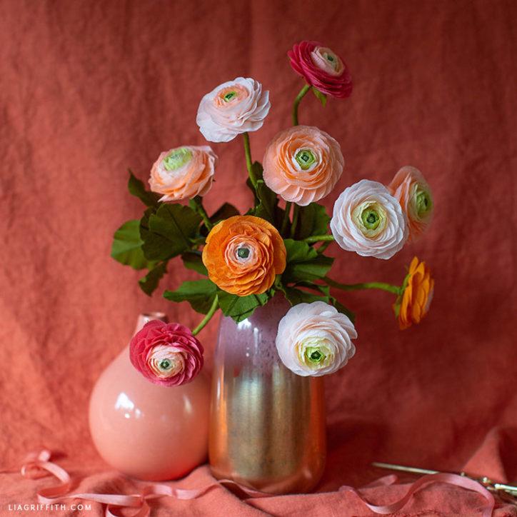 crepe paper ranunculus bouquet