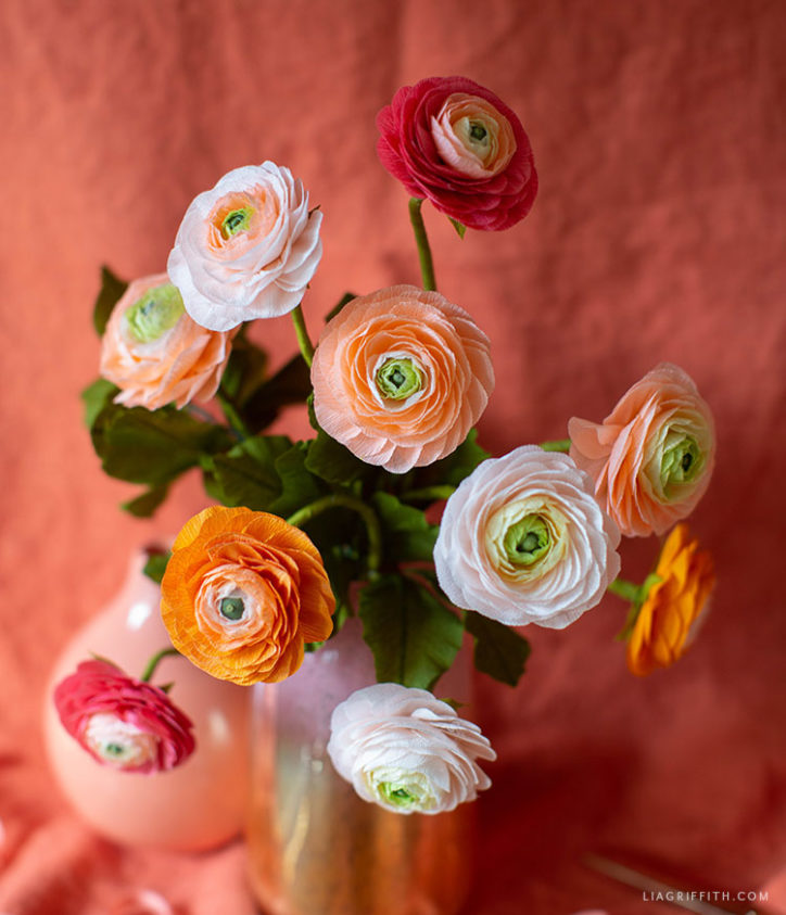 crepe paper peachy watermelon ranunculus bouquet