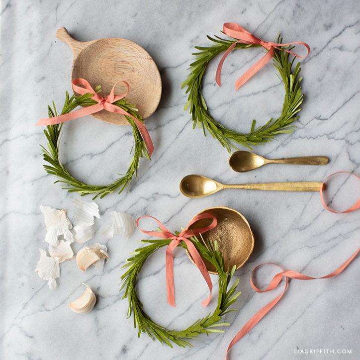crepe paper mini rosemary wreaths