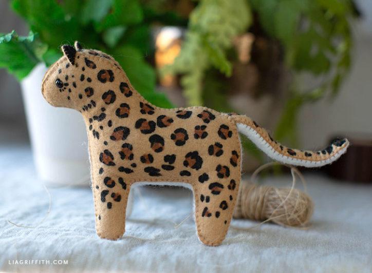 handsewn felt leopard stuffie