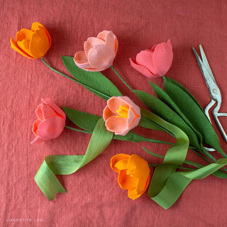 handcut felt tulips