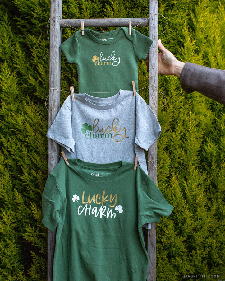 lucky charm iron-on onesie and kid's tees