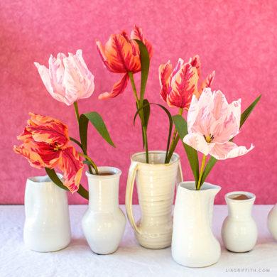 crepe paper parrot tulips