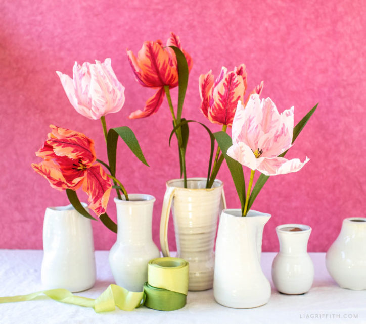 red and pink crepe paper parrot tulips