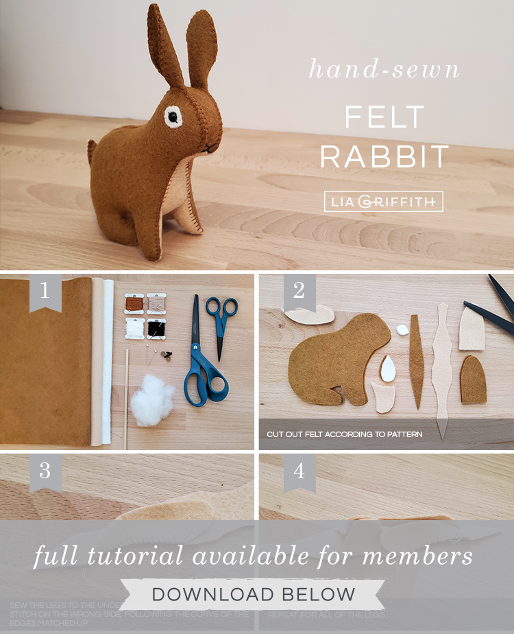 Photo tutorial for felt rabbit stuffie by Lia Griffith