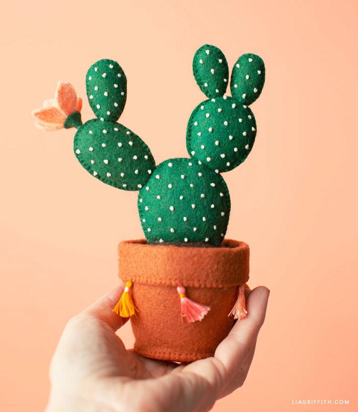 felt bunny ear cactus in felt pot with mini tassels