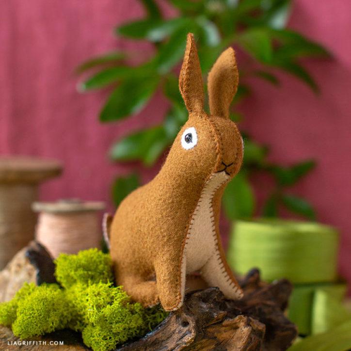 handsewn felt rabbit stuffie