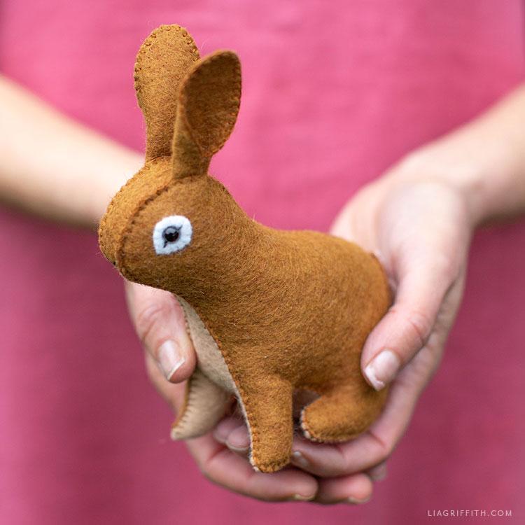 hand-sewn felt rabbit stuffie