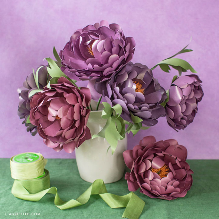 frosted paper heirloom peony boouquet