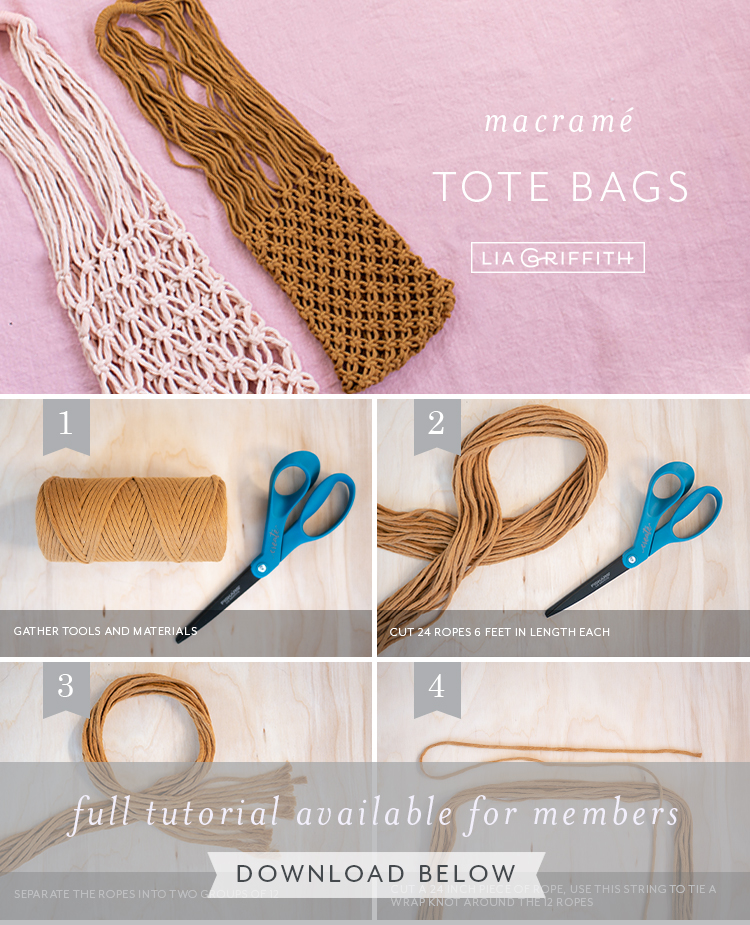 Photo tutorial for macrame tote bags by Lia Griffith