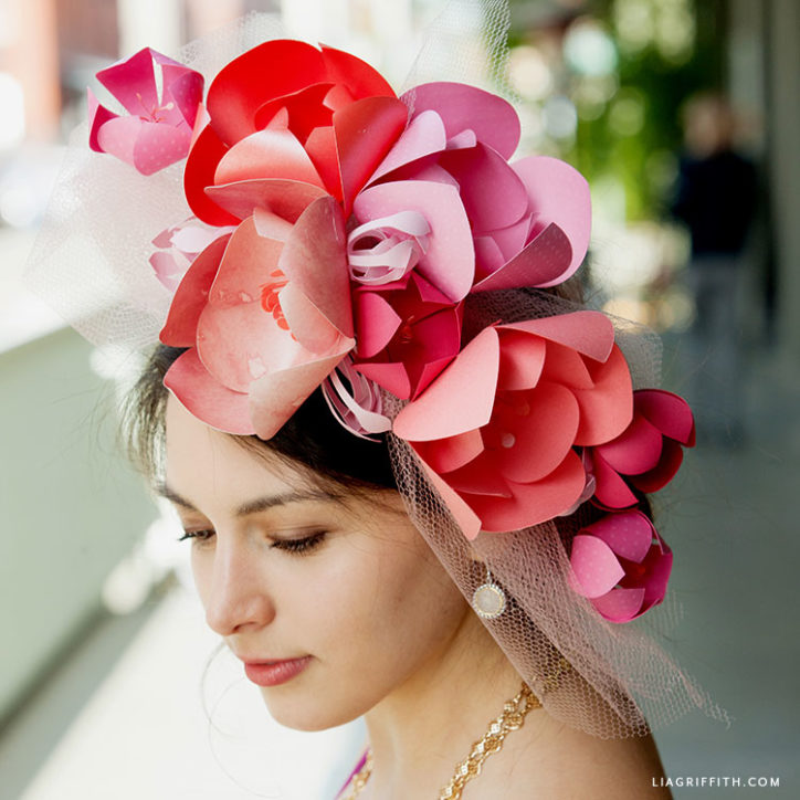 DIY paper flower Kentucky derby fascinator