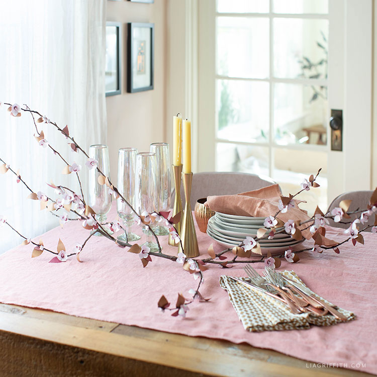 frosted paper plum blossom branch for spring table