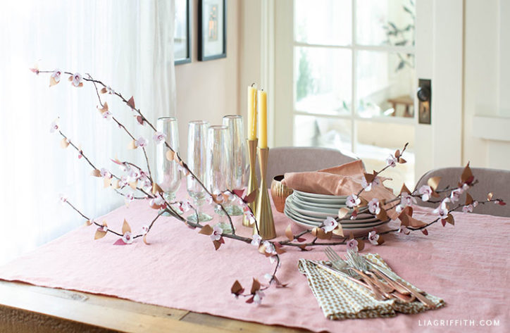 frosted paper plum blossom branch table centerpiece