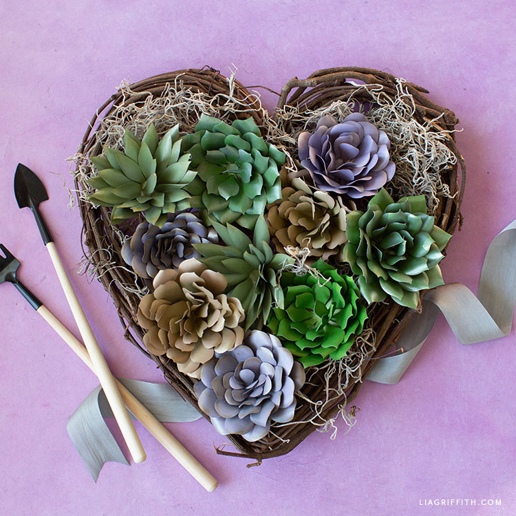 heart-shaped mini garden for paper succulents