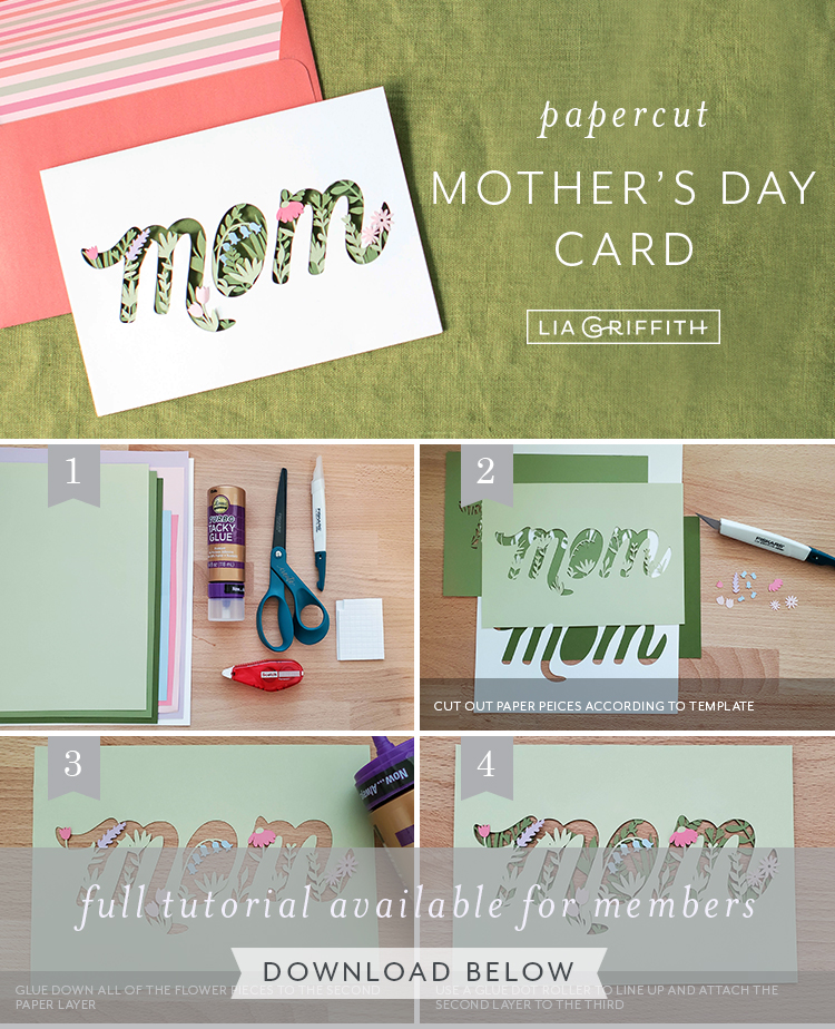 Photo tutorial for papercut Mother's Day card by Lia Griffith