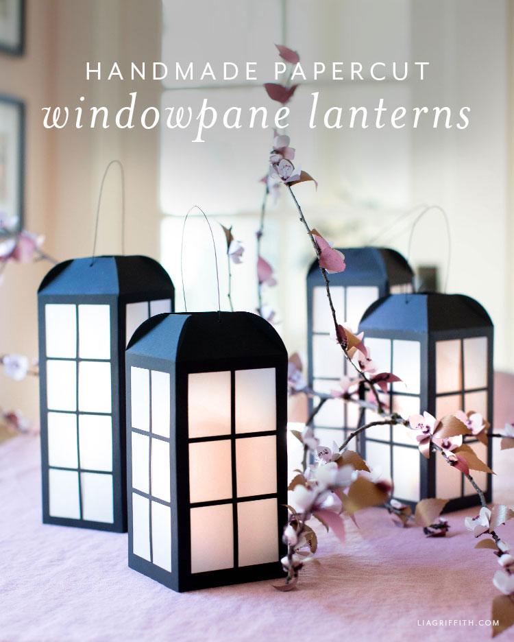 handmade papercut windowpane lanterns