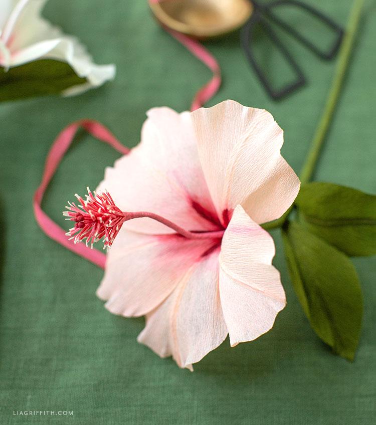 DIY crepe paper hibiscus flower