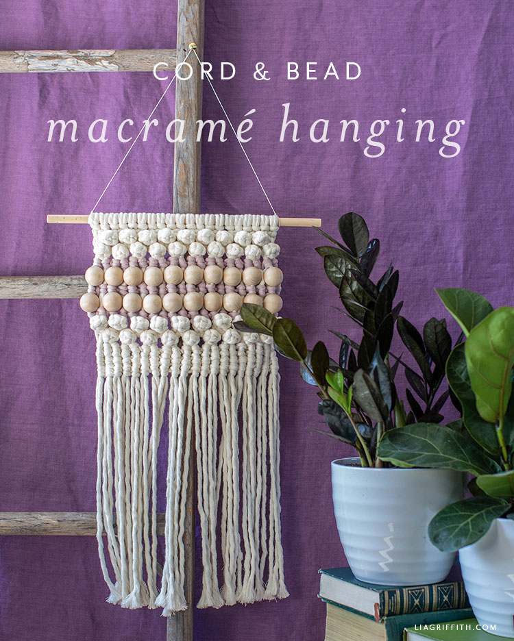 DIY macrame wall hanging with wooden beads