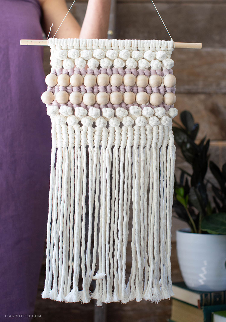wood bead macrame wall hanging