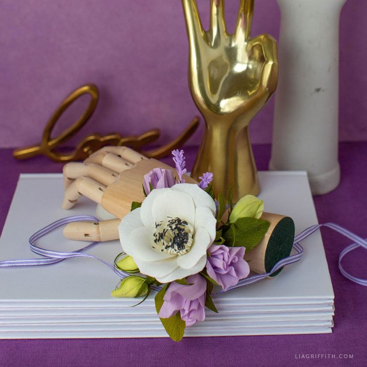 handmade crepe paper flower wrist corsage