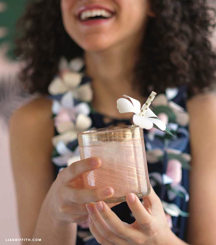 paper flower straw topper