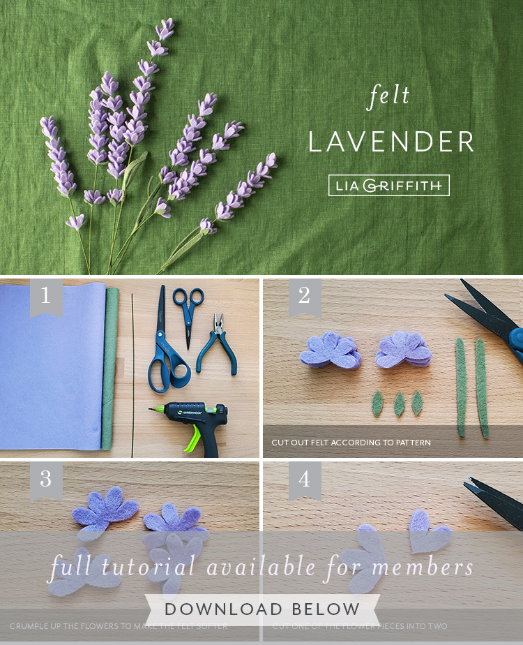 Photo tutorial for felt lavender flowers by Lia Griffith