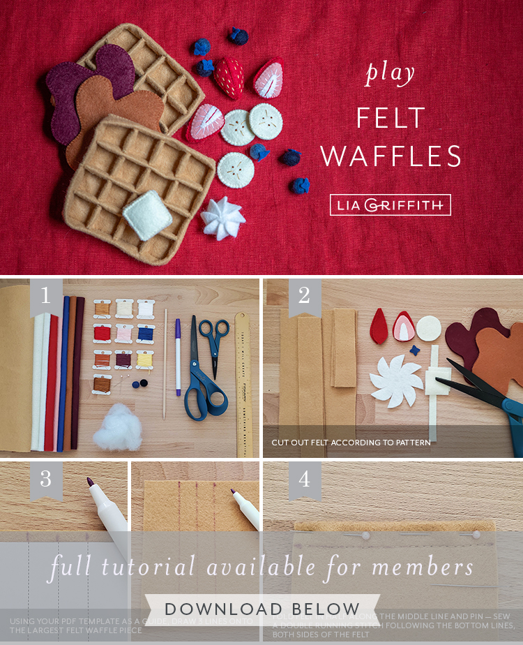 Photo tutorial for felt play food waffles by Lia Griffith