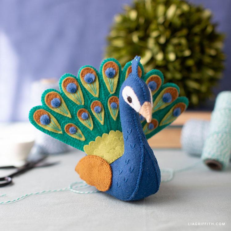 handsewn felt peacock stuffie