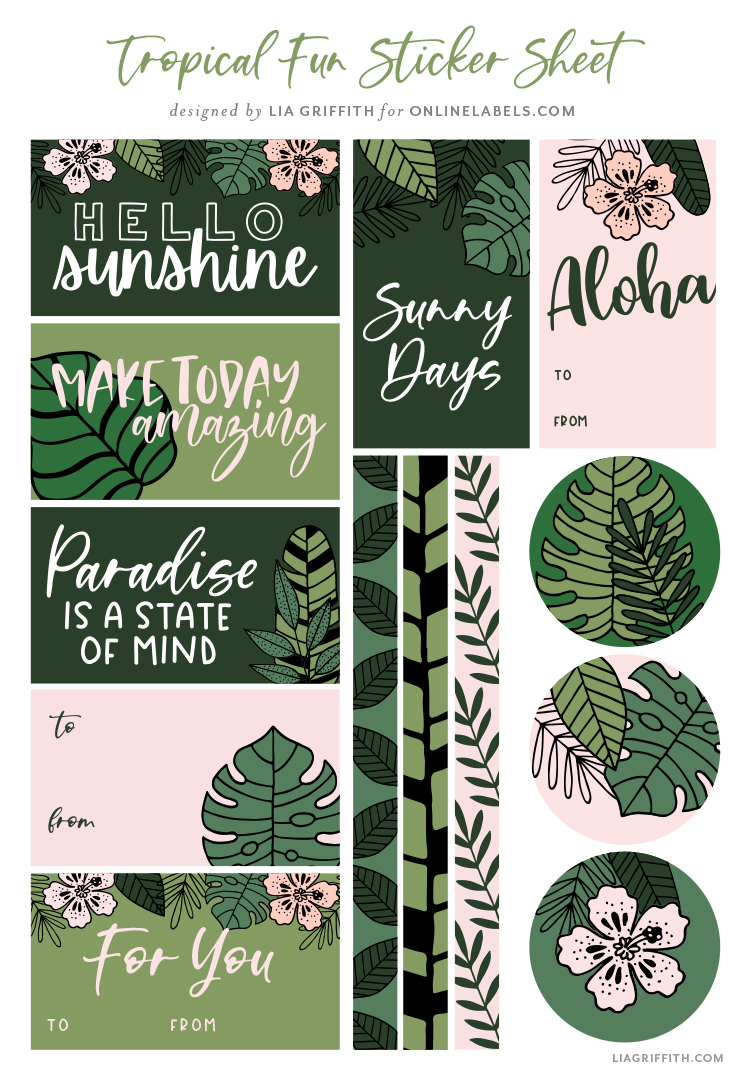 free tropical stickers by Lia Griffith