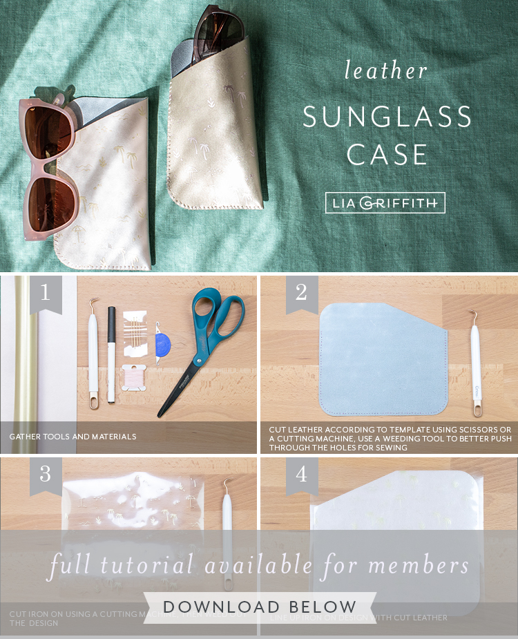 Photo tutorial for leather sunglass case by Lia Griffith