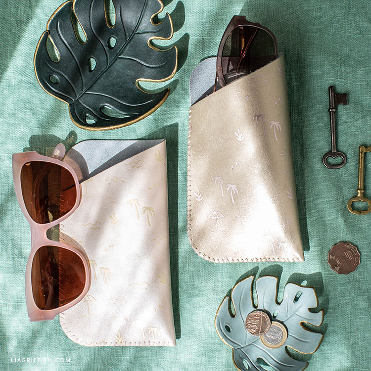 DIY leather sunglass cases and monstera drop dishes