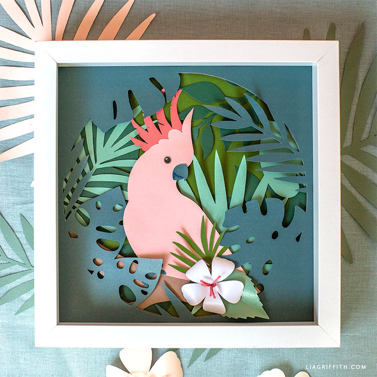DIY framed cockatoo tropical art