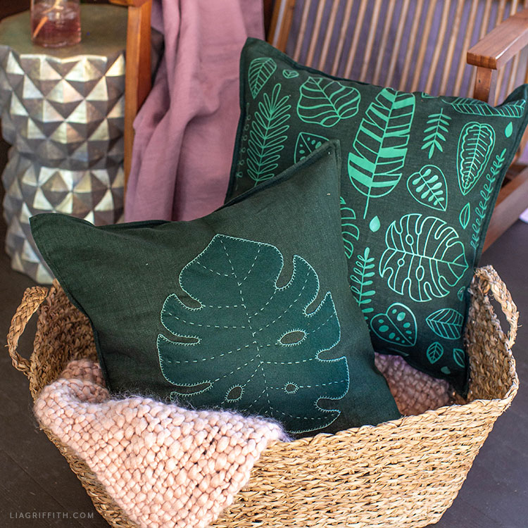 DIY tropical leaf pillows