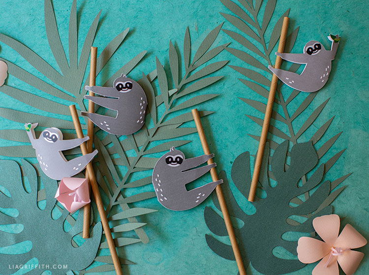 printablesloth straw huggers and papercut tropical leaves