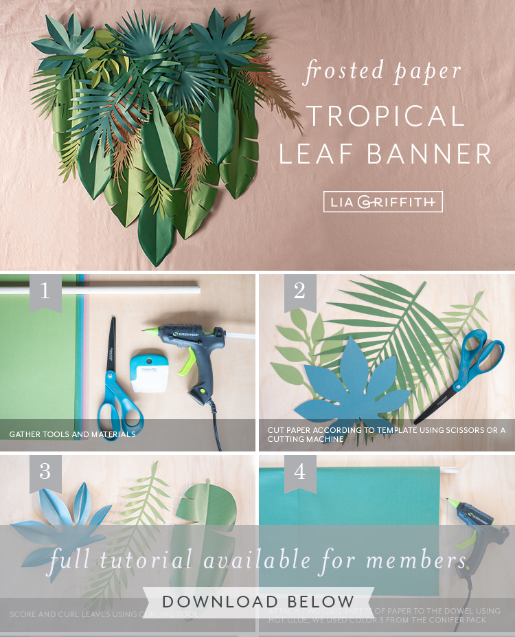 frosted paper tropical leaf banner by Lia Griffith