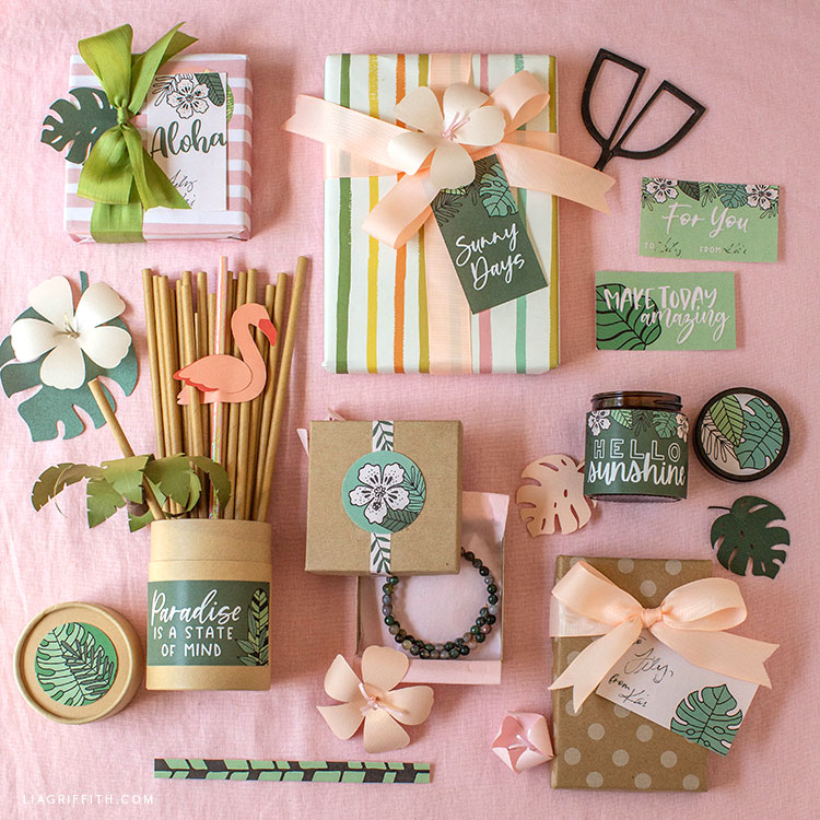 tropical stickers for gifts and party decorations