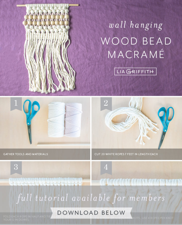 Photo tutorial for macrame wall hanging with wooden beads by Lia Griffith