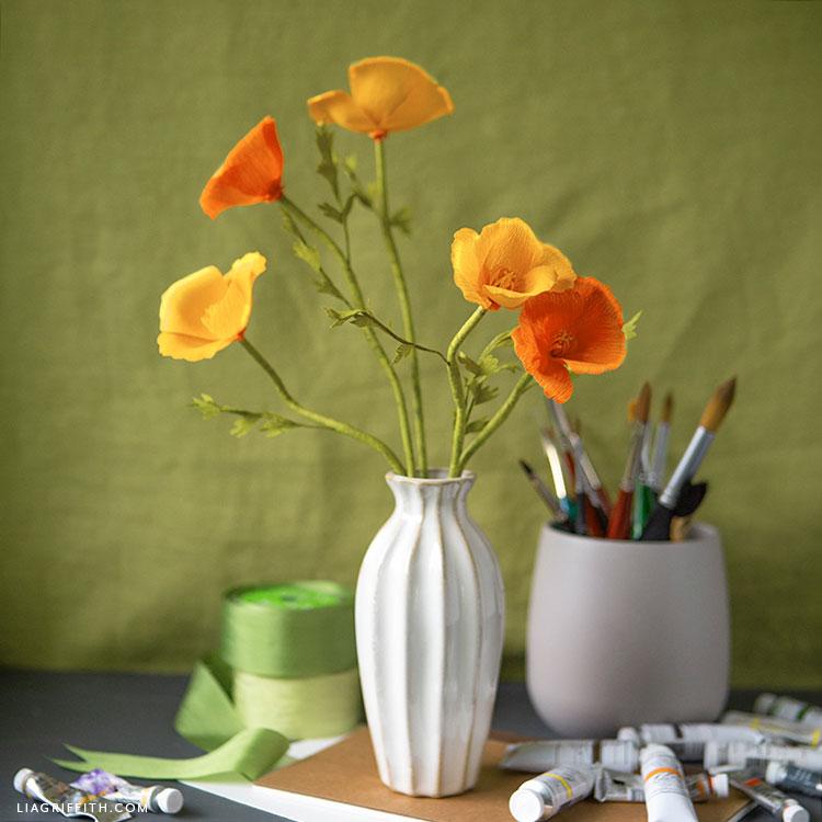 crepe paper California poppies bouquet