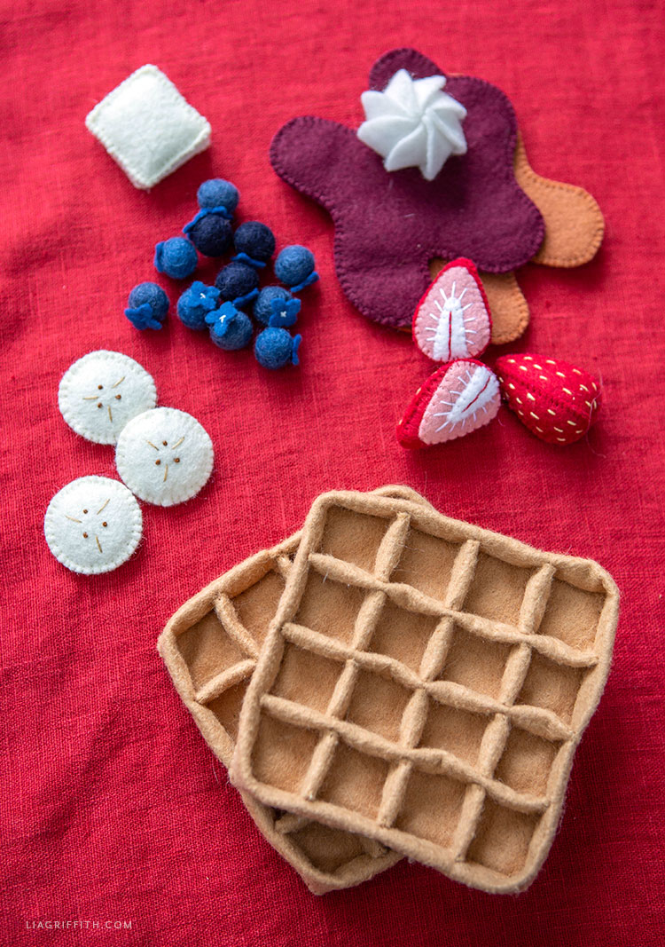 DIY felt waffles with felt fruit and felt toppings