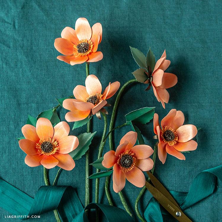 handmade frosted paper single petal dahlias