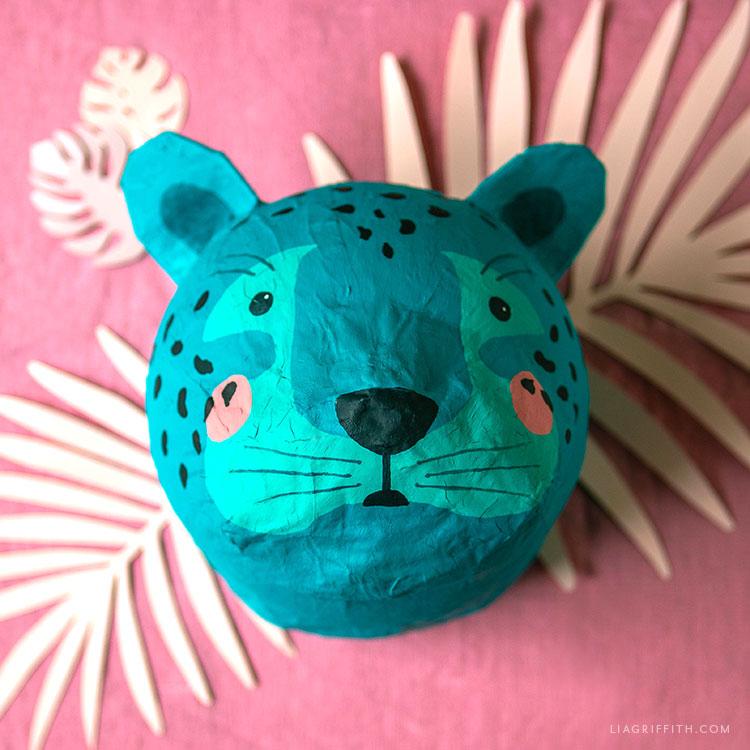 paper mache leopard head