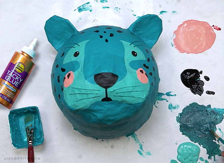 Handmade paper mache leopard