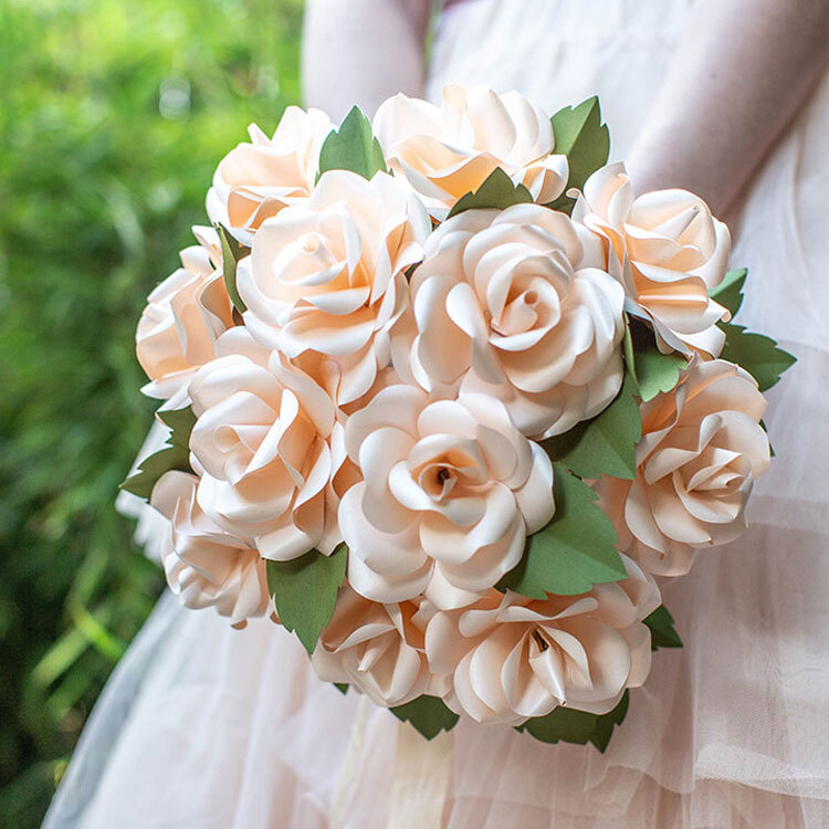 Frosted paper white roses.