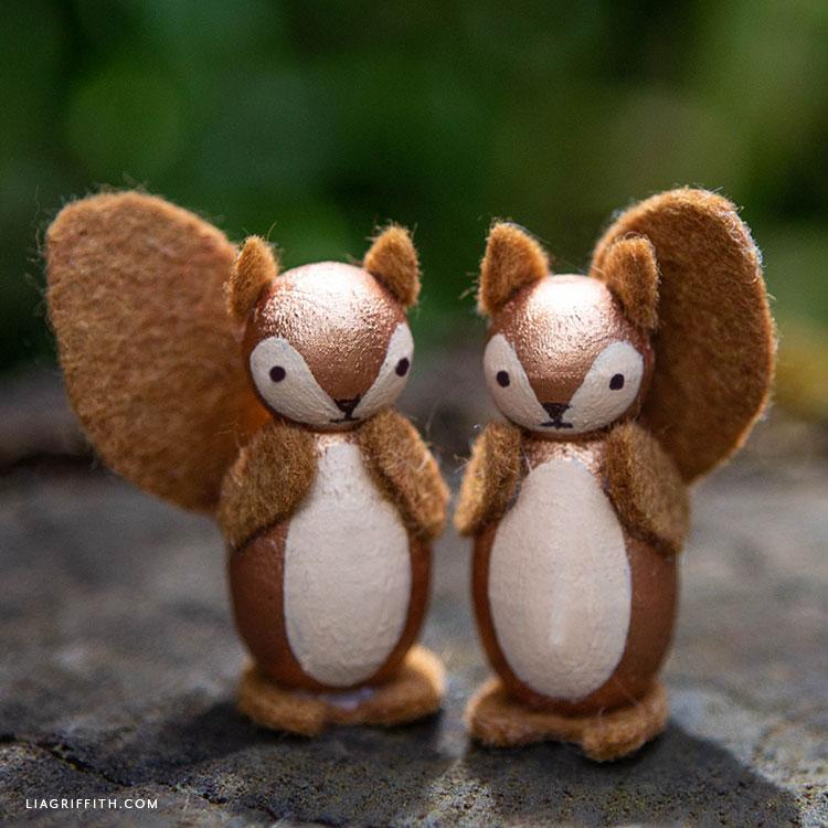 DIY squirrel peg dolls