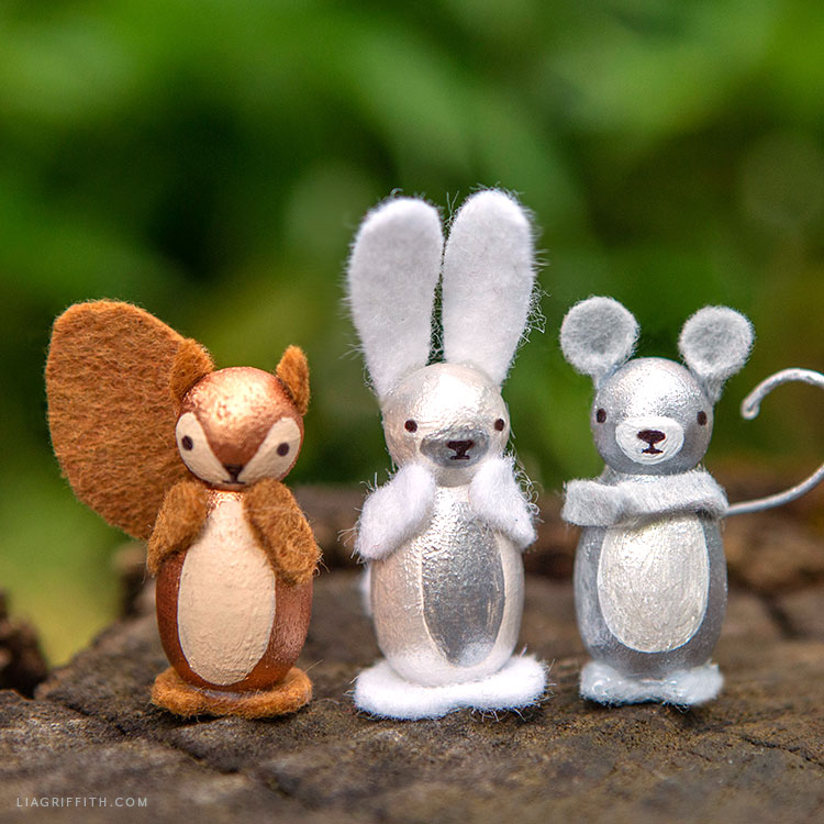 squirrel, bunny, and mouse peg doll