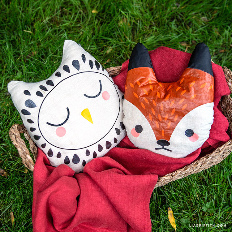 iron-on fox and owl pillows